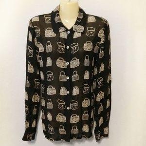 Vintage button down purse design blouse